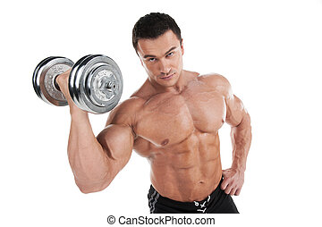 Portrait of sexy muscular man training with dumbbell....