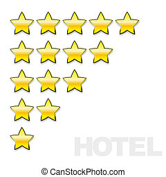 stars for evaluation of a hotel or restaurant