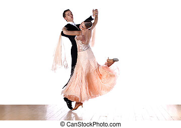 dancers in ballroom against white background