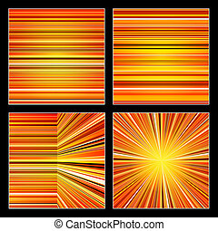 Abstract striped orange colorful backgrounds set