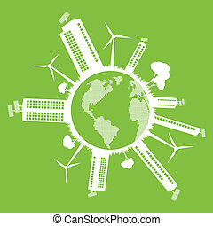 Green Eco city ecology vector background concept
