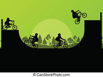 Cycling bmx silhouette vector background for poster -...