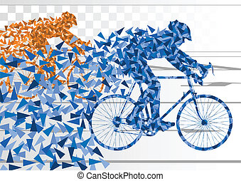 Sport bike and rider vector concept background