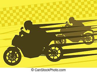 Siluetas, deporte, motocicleta, jinetes, moto