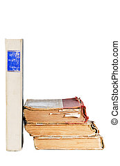 pile of old books, isolated on white - pile of old books,...
