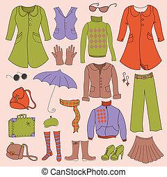 Vector set, retro woman clothes, hipster collection