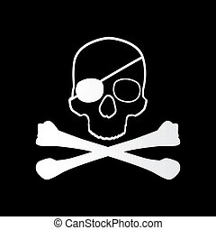 Pirate sign Skull and bones Jolly roger