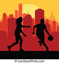Women basketball in front of city sunset vector background