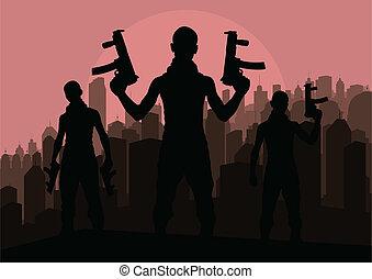 犯罪者, 危険, ベクトル, 背景, 人々