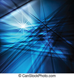 Blue abstract vector background with neon lines