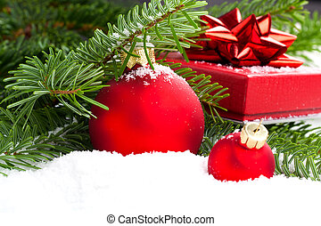 Christmas bauble with copy space, on  on white background
