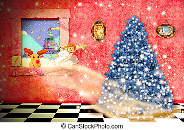 cheerful child christmas magical scene,an angel coming...