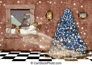 cheerful christmas home greeting card - happy and magical...