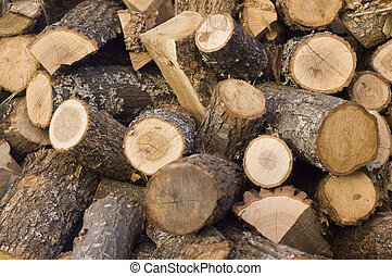 chopped firewood logs ready for heating