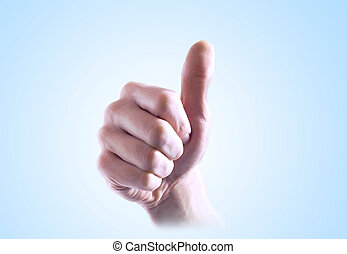 A hand of a man with thumb up and gradient background - A...