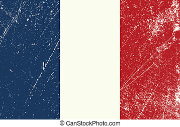 French Flag vintage - Vector illustration of a vintage...