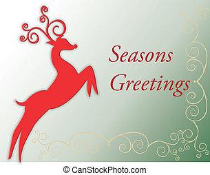 Seasons greetings card with deer