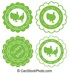 Organic farm and forest turkey meat food labels illustration...