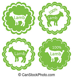 Organic sheep lamb meat food labels illustration collection
