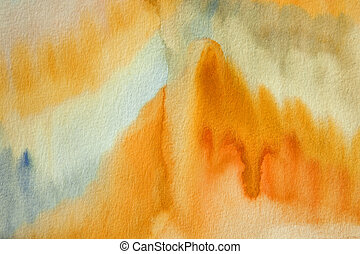 Ochre - made by me watercolor abstract painting