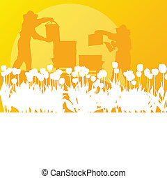 Beekeeper working in apiary vector background landscape for...