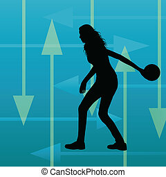 Bowling player silhouettes vector abstract background for...