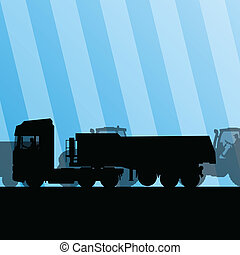 Heavy truck trailer and tractors at industrial road...