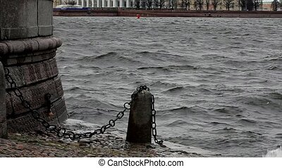 Old maritime city - view of the St. Petersburg Neva River...