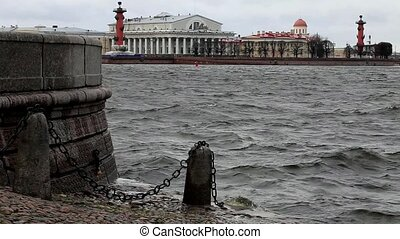 floods - view of the St. Petersburg Neva River during the...