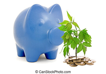 Piggy bank and money tree - Piggy bank and tree growing from...
