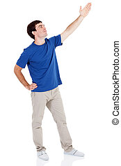 young man arm up on white background