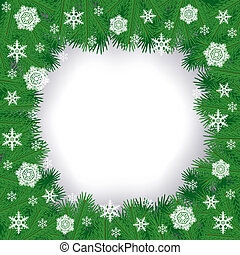 Christmas border - Christmas congratulations border with fir...