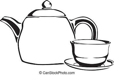 Teapot and teacup - Contour black and white teapot and...