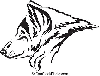 Wolf muzzle - The contour image of the wolfs muzzle