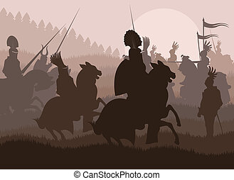 Medieval knights in battle vector background
