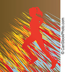 Silhouette of runner vector in front of colorful abstract...