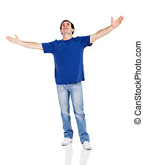 man looking up with his arms wide open