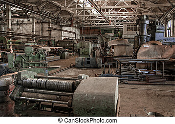 Color old and abandoned factory building interior
