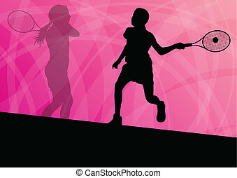 Teenager tennis players active sport silhouettes vector...