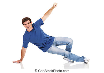 man dancing hip-hop in studio - portrait of cheerful man...