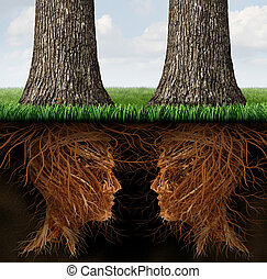 Business Roots - Business roots concept as a partnership...