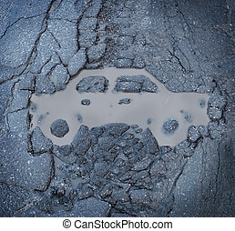 Car Insurance - Car insurance concept with a pot hole and a...