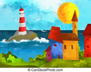 lighthouse - abstract landscape with houses and lighthouse