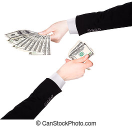 Businessman counts money in hands american hundred dollar...