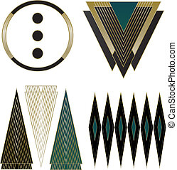 Art Deco Logos and Design Elements - A collection of four...