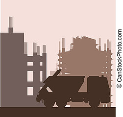 Building site and truck vector background for poster