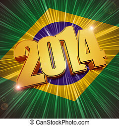 new year 2014 golden figures over shining Brazilian flag