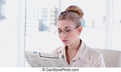 Content blonde businesswoman