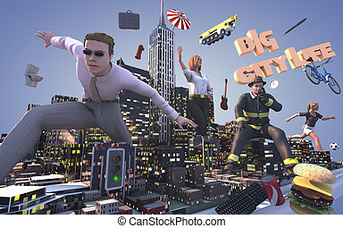 BIG city life - 3d illustration of city life