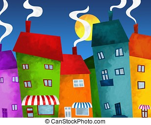 houses and shops - abstract background with houses and shops...